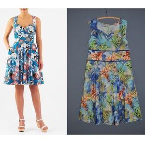 ESHAKTI Tropical Floral Sweetheart A-Line Dress L